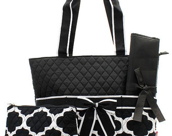 Personalized Black and White Geometric Diaper Bag with Changing Pad   Zig Zag Diaper Tote  Chevron Quilted Diaper Bag New Born Baby