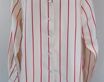 Vintage 80's Nordstrom silk blouse, red stripes, large, XL