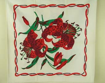 SALE Never used Kitchen Towel  Linen Vintage Kitchen Towel Red Lillies