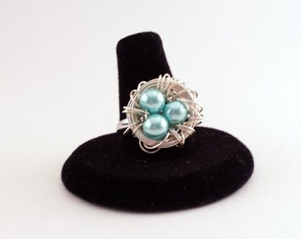 Custom Bird Nest Ring, In Your Choice of Colors, Three Glass Beads in Silver Plated Wire Nest, Adjustable Band