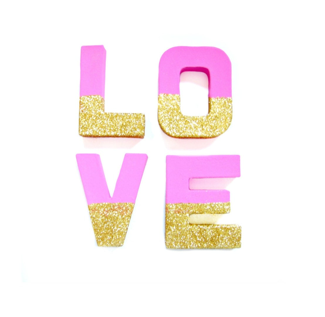 Pink gold glitter love letters glitter letters by pelemele for Pink glitter letters