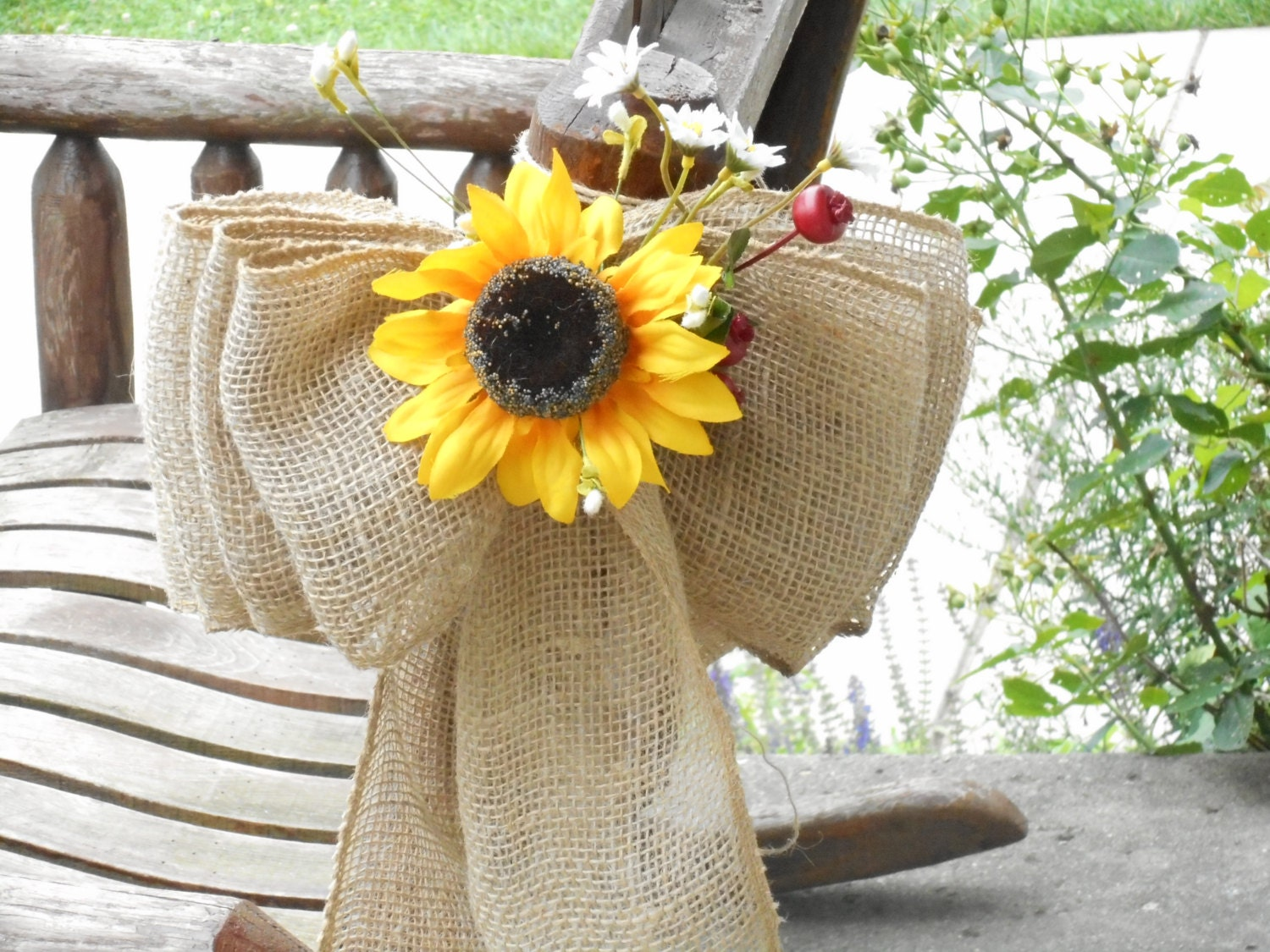 Sunflower Chair large burlap and sunflower pew bows or aisle markers / chair