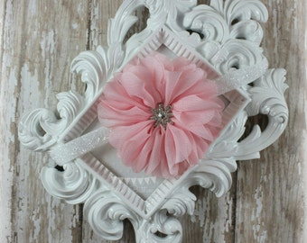 Pink ruffled flower white glitter headband -  Rhinestone headband - Baby headband - Shabby chic newborn headband