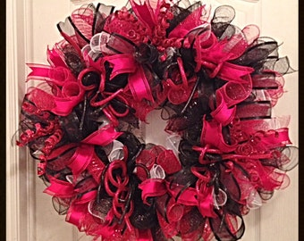 Red, Black and White Deco Mesh Wreath/Everyday Red, Black and White Deco Mesh Wreath
