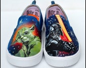 Gifts for Boys - Star Wars Shoes, Hand Painted Star Wars Sneakers, Darth Vader, Yoda, or R2D2, Fan Art