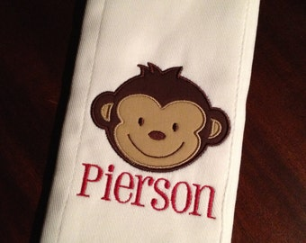 Burp cloth with monkey applique and name