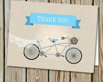 Tandem Bicycle Wedding Thank You Card; Instant Download