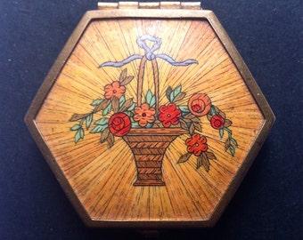 REDUCED Art Deco Houbigant Flower Basket Powder Compact Engine Turned