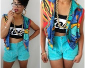 VTG Abstract Colorful 90s Bomber Vest