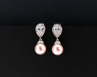 pink bridal earrings , pink bridesmaids pearl set , swarovki pearl earrings , baby pink pearl earrings , pink pearl drop earrings , bridal
