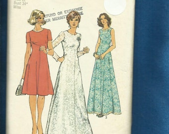 Vintage 1973 Simplicity 6094 Evening or Day Length Dresses with Shaped Empire Detail on an Elegant Flared Skirt Size 12