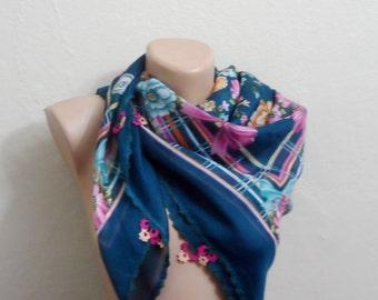 green scarf pink  flower yellow cotton turkish yemeni oya handmade
