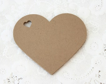 Kraft Tags, Heart Tags, Wedding Favor Tag, Kraft Heart Tags, Rustic Wedding Tag, Hang Tags, Wish Tree Tags, Paper Tags, Brown Tags