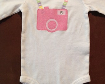 Pink Camera Baby Onesie