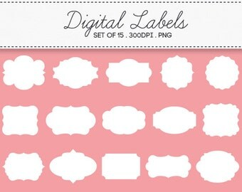 Digital Labels Frames Borders / INSTANT DOWNLOAD / Clip Art Set of 15 / 105
