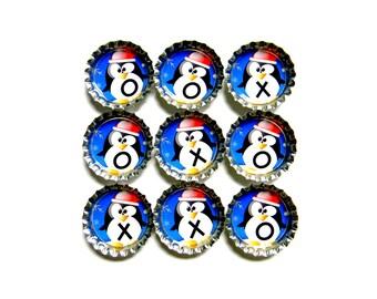 Tic Tac Toe - Bottle Cap Magnets - Holiday Penguins - Set of 10