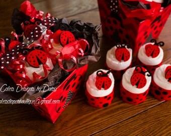 Ladybug Baby Shower Decoration, Ladybug Shower Gift, Ladybug Diaper Cupcake Gift