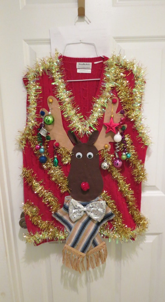 Custom 3 D Reindeer Tacky Ugly Christmas Sweater With Wild