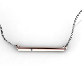 Delicate two tone 14K Rose Gold bar necklace with Champagne Diamond