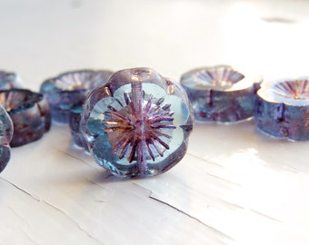 Purquoise Blooms - large aqua purple czech table cut flower beads with Picasso finish (4), czech glass beads, picasso finish beads