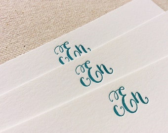 Letterpress Monogram Personalized Stationery, Set of 25 or more, note cards, paper, anniversary, thank you, wedding gift, bridesmaid S122