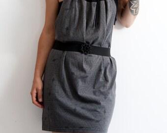 upcycled ecofriendly minimalist modern grey mini dress with geometric print