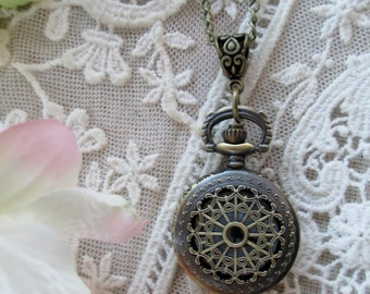 Victorian Lace Pocket Watch Pendant, Working Timepiece, Inspired unique Gift, edwardian, Downton Abbey Jewelry