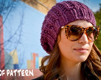 Knit Hat Pattern, Knitting Pattern Slouchy Beret, Knitted Slouchy Hat Pattern, Knit Slouchy Hat Pattern, Women's Hand Knit Hat Pattern
