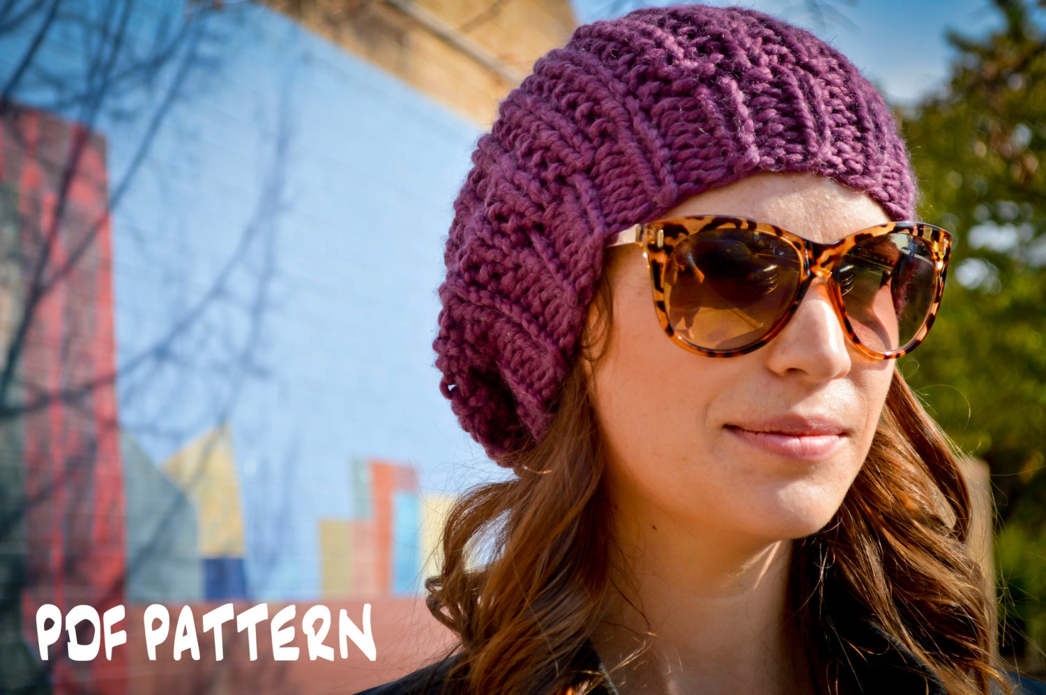 Free Knitting Pattern Beret Straight Needles : Knit Hat Pattern Knitting Pattern Slouchy Beret Knitted