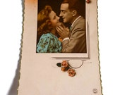 Romantic French Postcard . Vintage Sweetheart Card . Lovely Couple . French Lovers Postcard .