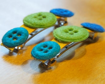 Felt Buttons Barrettes in Lime Green, Teal and Blue