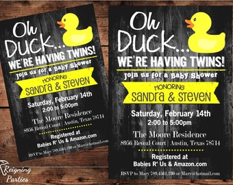 The ORIGINAL Oh Duck Baby Shower Invitation - Twins Baby Shower - Triplets Baby Shower - Digital