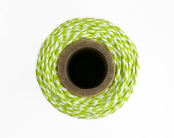 Green Baker's Twine  - 100m Spool of Lime Green and White Everlasto Packaging String