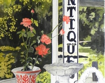 "Original Watercolor Still Life ""Shopping for Antiques"""