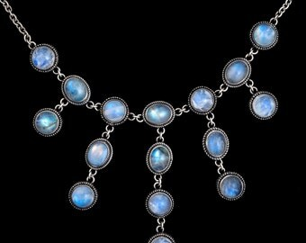 Silver Rainbow Moonstone Victorian Necklace: JULIET
