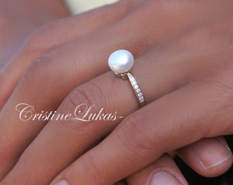 Pearl Ring With Clear CZ Stones - Freshwater White Pearl with Sterling Silver - Large Pearl Ring