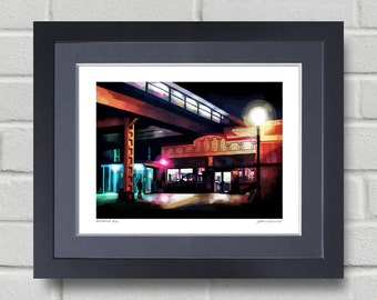 Chicago art - Painting of diner under the Wilson El stop in Chicago