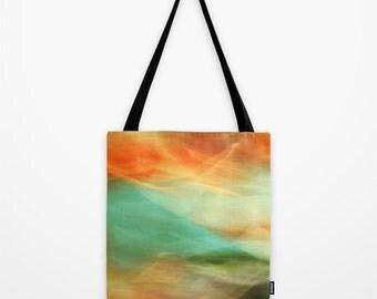 Abstract Art II Blue/Black/Green/Red Tote Bag Poly Poplin Fabric  Photography 13x13 16x16 18x18 Art abstract modern stylish woman city
