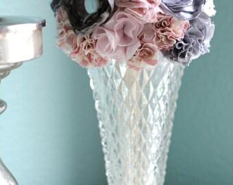 Vintage Vase / Diamond Point Flower Vase / EAPG Glass Vase / Sawtooth Hobnail / home decor