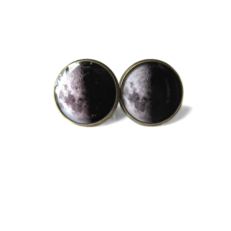 Half Moon Stud Earrings Pastel Goth Soft Grunge Pop Culture