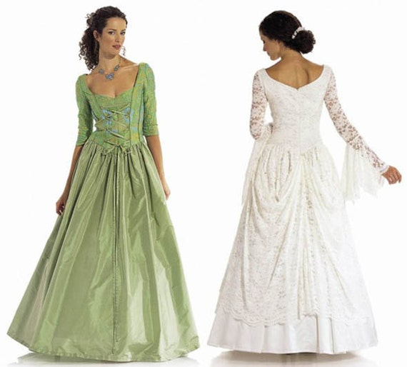 Renaissance Wedding Dresses Plus Size: MEDIEVAL WEDDING DRESS Pattern Laced Corset Bridal Gown