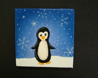 original miniature penguin painting hand painted
