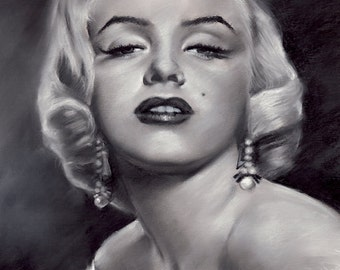 "Marilyn monroe, painting, poster, print, reproduction, charcoal drawing by artist eugene, 16""x20"",22.4""x28"""