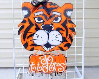 AUBURN TIGERS SIGN Wooden Door Hanger Auburn Tigers