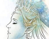 Digital Stamp - Elven Queen - Beautiful Elf Queen with Icicle Tiara and Gems - Fantasy Line Art for Cards & Crafts by Mitzi Sato-Wiuff