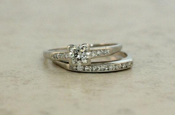 Vintage Engagement Ring Platinum Ring Diamond Wedding Ring