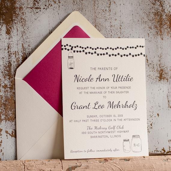 Lights Wedding Invitation, Rustic Wedding Invitation - The Nicole - mason jar, lights, simple, typography, simple, modern wedding invitation