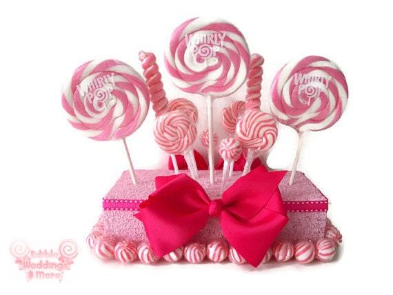 Pink lollipop centerpiece candy by