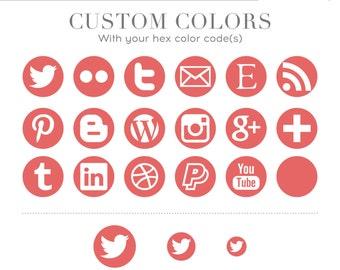 Social Media Icons - Simple Circles - Custom Colors