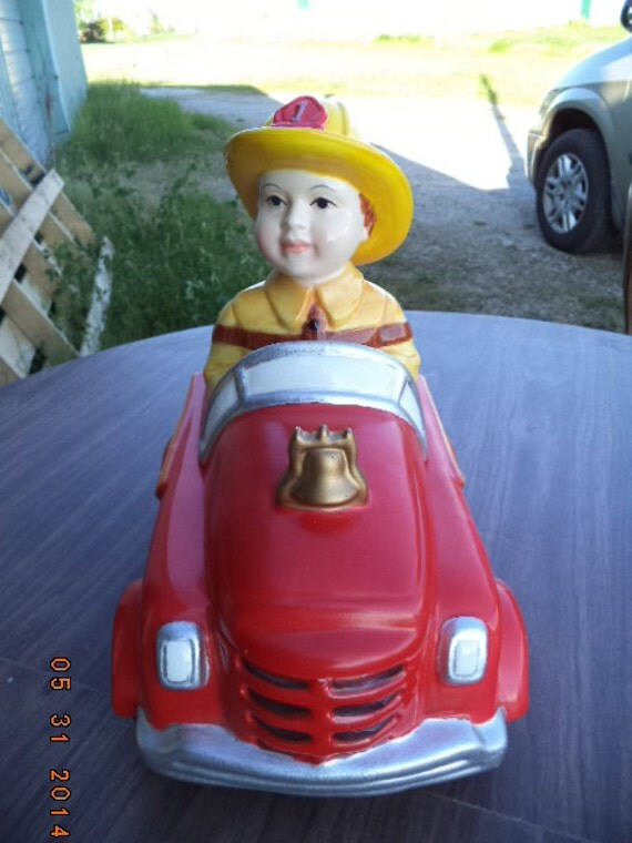 pedal car cookie jar fire truck firefighter extremely rare we